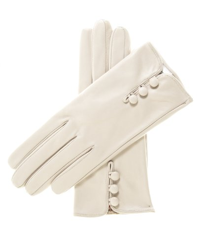 Fratelli Orsini Women's Italian Silk Lined Lambskin Leather Gloves with Buttons Size 6 Color - Lambskin Silk Gloves