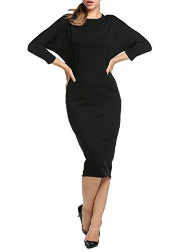 HOTOUCH Las Mujeres De Manga Larga Vestido Largo Cadera Del Paquete Negro