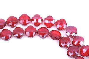 10 RED Quatrefoil Crystal Glass Beads, Checkerboard Faceted, 20mm, bgl1347 Crafting Key Chain Bracelet Necklace Jewelry Accessories Pendants ()