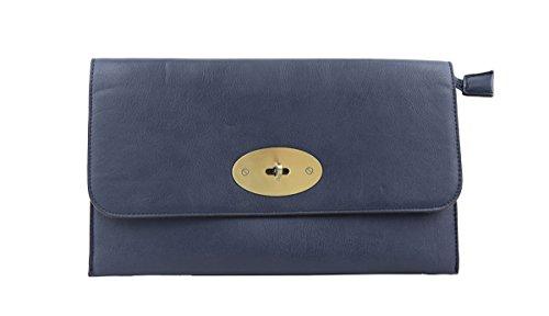 Long Blue Dark Shoulder Lock Clutch Twist With Craze London Strap Envelope Womens Leather Faux Bag xnTwUq8O