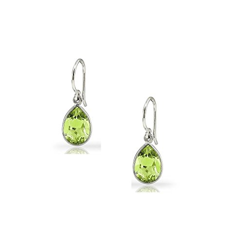 - 2.50 CTW Pear-Shaped Peridot Drop Earrings in Sterling Silver
