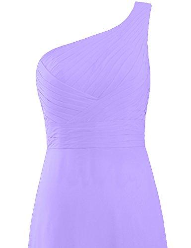 Mousseline De Soie Plissée Longue Robe Une Robe De Demoiselle D'honneur Épaule Violette De Fourmis Femmes