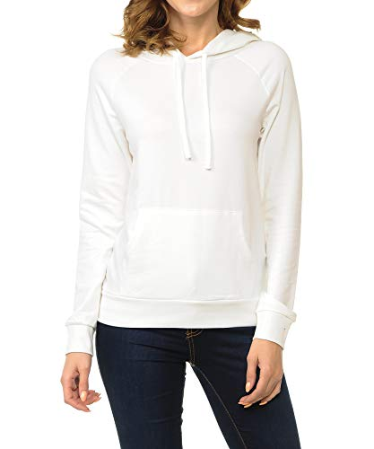 (ClothingAve. Women's French Terry Hoodie Top, Hoodie Only - Off White, Large)