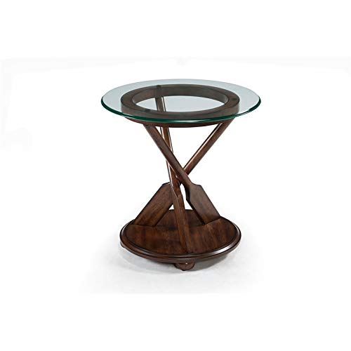 Magnussen Beafort Round End Table with Dark Oak Base and Glass Top ()