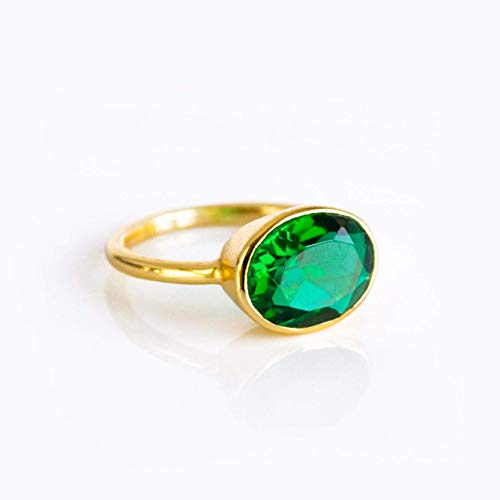 - Emerald Quartz ring, stackable ring, Vermeil Gold or silver, bezel set ring, oval ring, green gemstone ring, May Birthstone ring