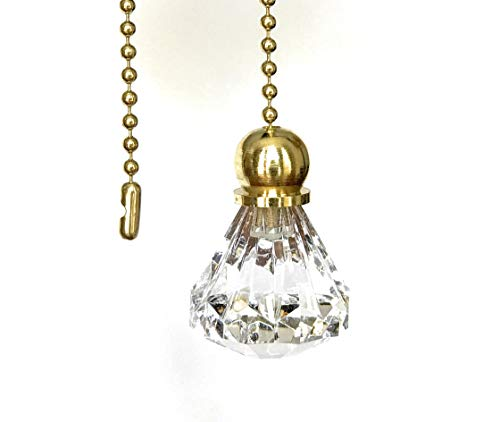 Set of 2 Crystal Clear Diamond Ceiling Fan Pull with Gold Chains (Light Pull Crystal)