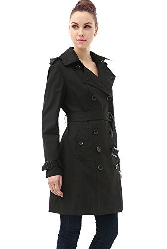 BGSD Women's Alexa Waterproof Classic Hooded Long Trench Coat - Black L