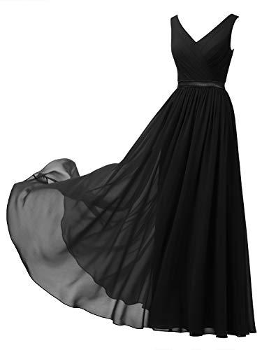 Alicepub V-Neck Chiffon Plus Size Bridesmaid Dress Long Formal Gown Party Evening Dress Sleeveless, Black, US20
