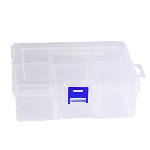6 Compartments Jewelry Earring Necklace Bead Storage Box Clear Plastic Adjustable Container Case (Blue)