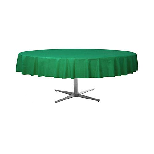 """12 Pack 84"""" ROUND Table Cover Premium Plastic Tablecloth for any Party or Event (Green)"""