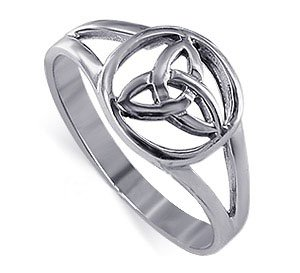 925 Sterling Silver Triquetra Filigree Celtic Knot Ring Size 9 ()