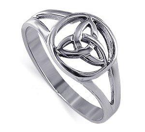 Gem Avenue 925 Sterling Silver Triquetra Filigree Celtic Knot Ring Size 8 ()