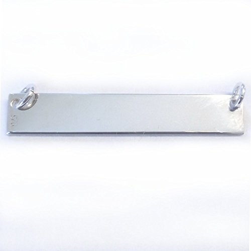 (3 qty. Engravable Sterling Silver Rectangle Bar Blanks with Rings (25x5mm)By)