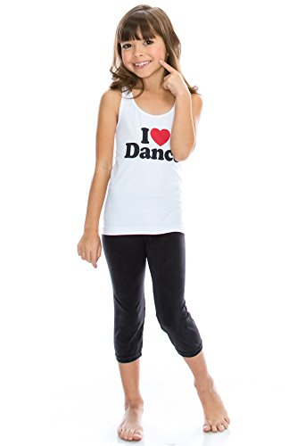 Kurve Kids 2-Piece Dance Outfit - One Size Age 4 to 9 - Made in USA- (One Size (4-9), I Love Dance Dark Set) by Kurve (Image #3)