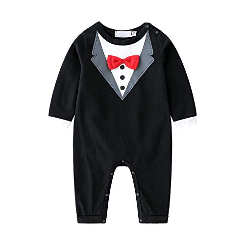 Kimocat Baby Boy Romper Tuxedo Jumpsuit Gentleman One-Piece Button-Down Bowtie Wedding Suit Bodysuit (Black&Red Bowtie, 0-6 months/70)]()