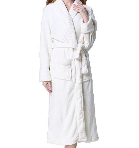 Bata Para De Blanco Mujer Invierno Dama Punto Cálido Largo Albornoz Franela Mujeres Espesar Casuales Código Pijamas Servicio rrxRdgawqO