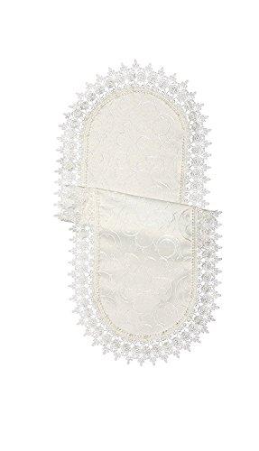 (Violet Linen Flower Bow Embroidered Lace Vintage Design Table Runner, 14