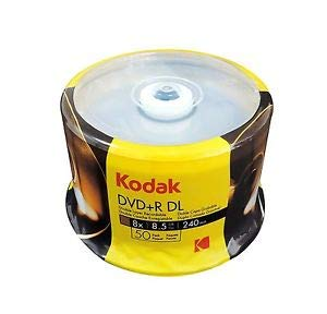 KODAK DVD+R DL 8x 8.5GB 50-Pack Cakebox, White Inkjet ()