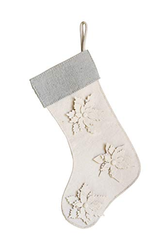 Creative Co-Op Wool Felt Stocking with Flowers, Cream & Blue, 20