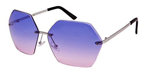Edge-I-Wear Oversized Hexagon Shaped Sunglasses with Ocean Lens M3120-OCR-4(S.bupk - Ocean Wear Sunglasses