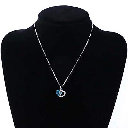Cristal Bleu Waymeduo Collier Femme Baisse de Leau