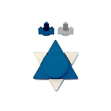 Judaica Blue & Silver Travel Shabbat Candlesticks Candleholders with Star of David Shape-Made in Israel