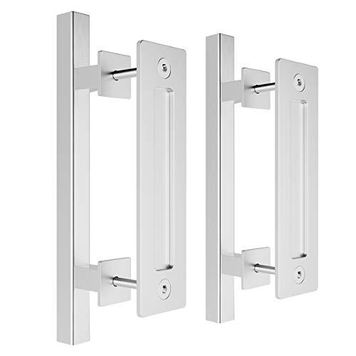 """SMARTSTANDARD 12"""" Pull and Flush Square Door Handle Set Stainless Steel Door Pull Handle Sliding Barn Door Hardware Handle 2PCS"""