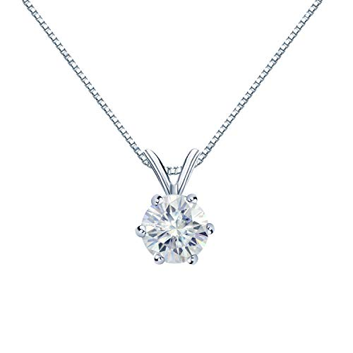 Diamond Wish 14K White Gold Round Moissanite Solitaire Pendant 5mm 0.5 TGW in 6-Prong (O.White) 18