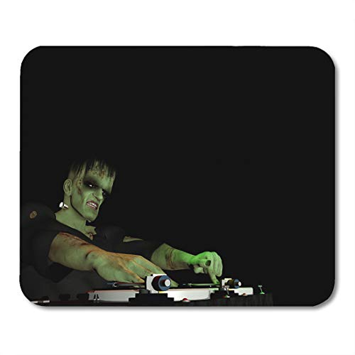 Emvency Mouse Pads Frankenstein Monster is in The House and Mixing Up Some Halloween Horror Turntables Vinyl Albums Mouse pad 9.5