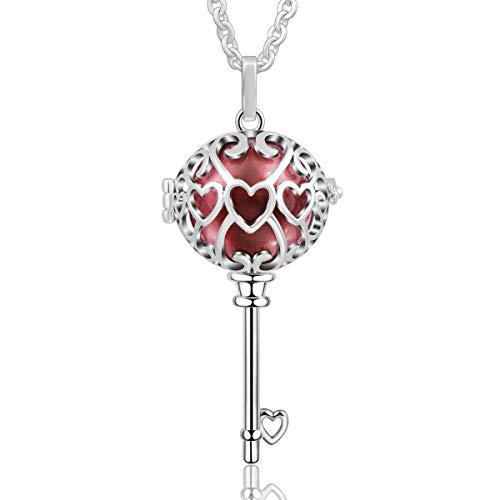 - AEONSLOVE Women Silver Key to Heart Harmony Ball Love Symbol Chime Bell Pendant Necklace, 30'' Chain (Wine Red)