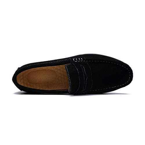 On Boat Shoes Black Slip Men's Driving Shoes Loafers SUNROLAN Flats Penny Moccasin qfw7x1xpO