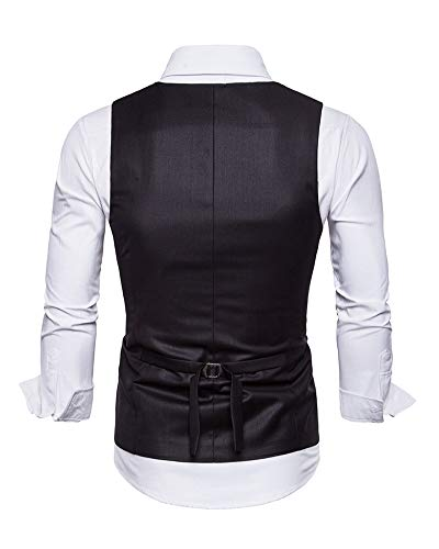 De Negro Ceremonia Boda Chaleco Hombre Formal Chalecos Mangas Sin Clásico Vestir wv08zw