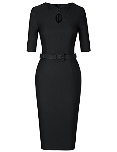 MUXXN Womens Pinup 1960s Keyhold Neck Slim Tunic Bodycon Evening Dress (Black M) by MUXXN