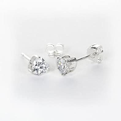 6b9bc759b98f7 Amazon.com: 925 Real Sterling Silver Clear CZ 4mm Heart Stud ...