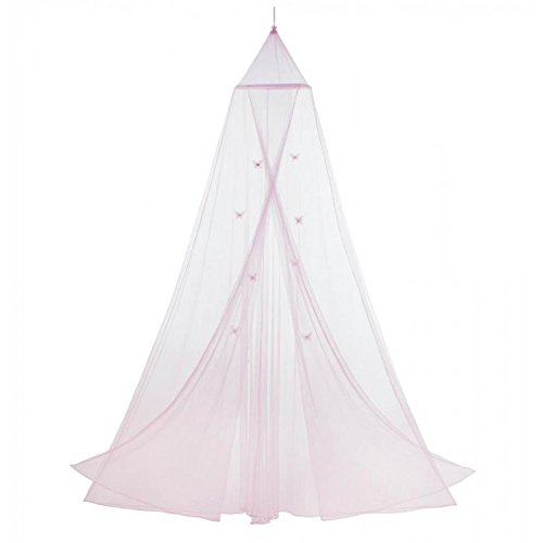 fly Motif Childrens Girls Pink Hanging Bed Canopy ()