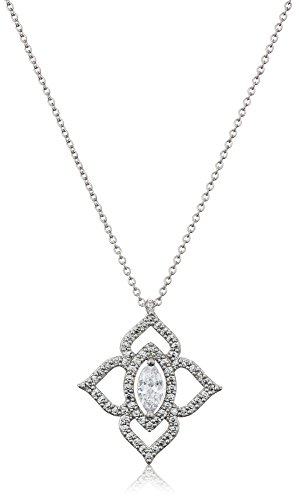 Carolee Crystal Bouquet Collection Women's 16 inches Open Clover Pendant Necklace, Silver/Crystal