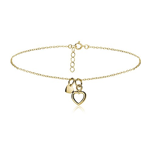 Hoops & Loops Yellow Gold Flash Sterling Silver Double Heart Chain Adjustable Charm Anklet