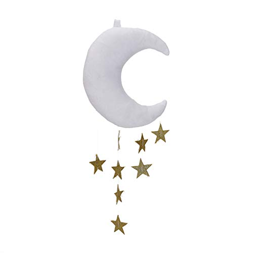 AHAYAKU Cute Plush Moon Cloud Pillow Baby Kids Room Hanging Soft Decoration Bed Curtain