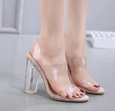 Cristallo Principessa YCMDM Donna Sandali modo trasparente cristallo della pellicola punta aperta Tacchi alti , apricot , 39