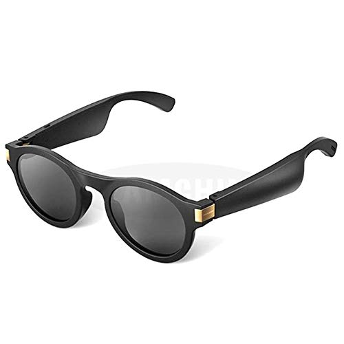 Smart Bone Conduction Sunglasses Directional Audio Music Sunglasses Sports Headset Headphone Riding Glasses, Black