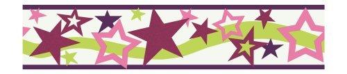 - York Wallcoverings PW4071B Girl Power 2 Star Border, White Background/Plum/Pinks/Lime by York Wallcoverings