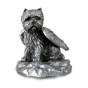 PEWTER Angel WESTIE West Highland Dog Figurine - Dog Figurine Highland Terrier West
