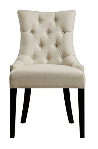 Pulaski Button Tufted Upholstered Dining Chair in Celine Flour, White (Chair Upholstered Pulaski Furniture)