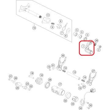 KTM 450 SXF/XCF 2016-2018 SHIFT LEVER CPL. 79434031100
