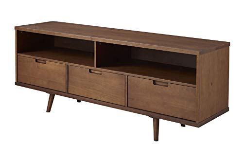 "Priya Home Furniture 58"" 3-Drawer Mid Century Modern TV Stand - Walnut"