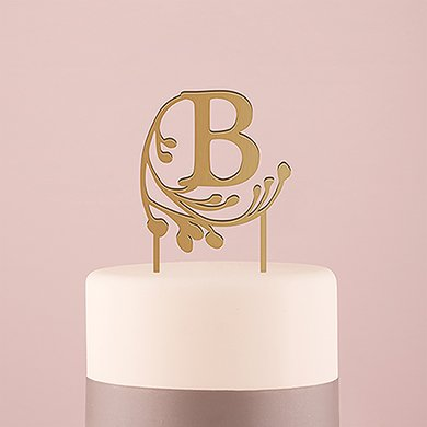 Weddingstar Letter A Modern Fairy Tale Monogram Acrylic Cake Topper, Metallic Gold