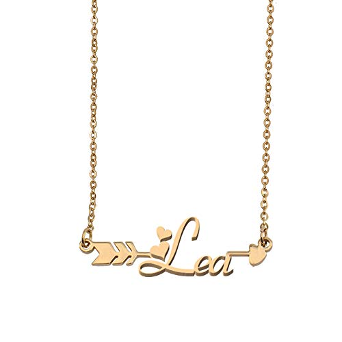 Aoloshow Customized Custom Name Necklace Personalized - Custom Lea Initial Name Arrow Horizontal Monogrammed Necklace Gift for Womens Girls