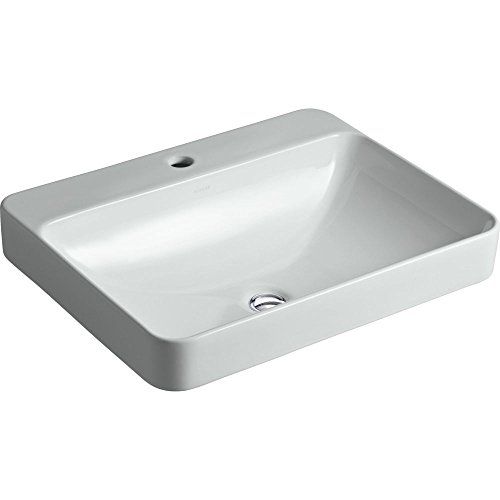 (KOHLER K-2660-1-95 Vox Rectangle Vessel Above-Counter Bathroom Sink with Single Faucet Hole, Ice)