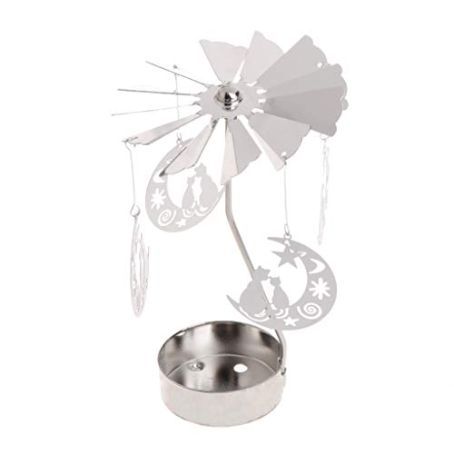 Flosky Rotary Spinning Tealight Candle Metal Tea Light Holder Carousel Home Decor Gifts (Cat on The Moon)