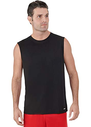 Russell Athletic Men's Dri-Power Performance Mesh Sleeveless Muscle, Black 3XL
